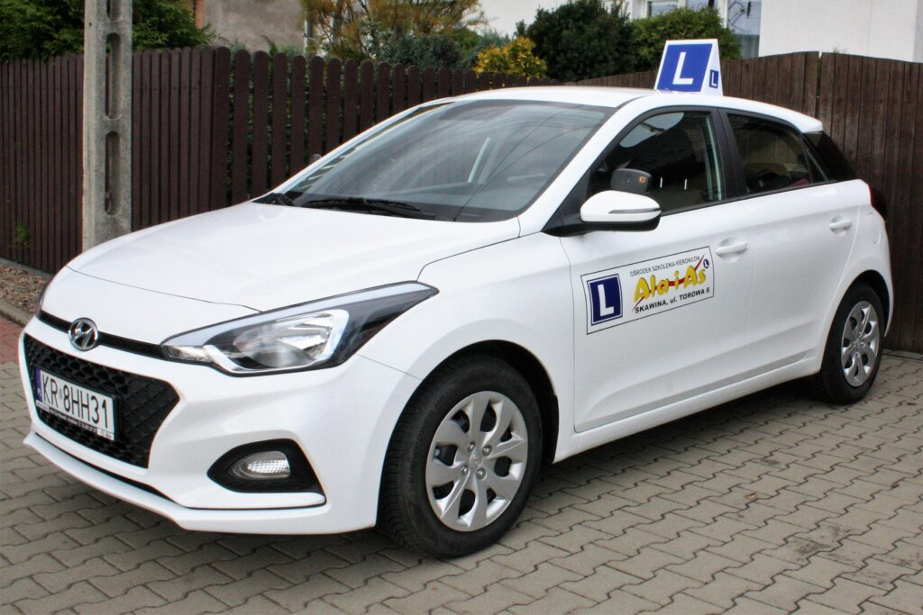 Driving school car with symbol